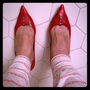 Belle pink patent leather kitten heel flats